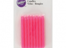 "Wilton ""Pink Birthday Candles"" - ΚΕΡΙΑ ΣΠΙΡΑΛ ΡΟΖ σετ 24 (κωδ. 3986)"