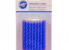 "Wilton ""Blue Birthday Candles"" - ΚΕΡΙΑ ΣΠΙΡΑΛ ΜΠΛΕ σετ 24 (κωδ. 3988)"