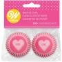 "! Wilton ""Mini Pink Hearts Baking Cups"" - ΜΙΝΙ ΘΗΚΕΣ ΨΗΣΙΜΑΤΟΣ ΚΑΡΔΙΕΣ ΡΟΖ 32mm σετ 100 (κωδ. 7208)"